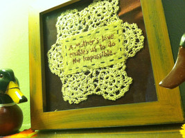 New Primitive Framed crochet  Mother's Love Enables Us to Do the Impossible image 4