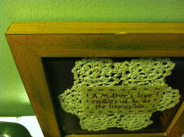 New Primitive Framed crochet  Mother's Love Enables Us to Do the Impossible image 3