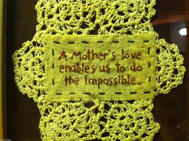 New Primitive Framed crochet  Mother's Love Enables Us to Do the Impossible image 2