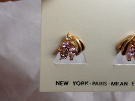 New Pretty Gold Tone Pink White Stone Stud Earrings image 2