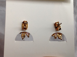 New Pretty Gold Tone Pink White Stone Stud Earrings image 6