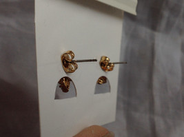 New Pretty Gold Tone Pink White Stone Stud Earrings image 7