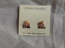 New Pretty Gold Tone Pink White Stone Stud Earrings image 8