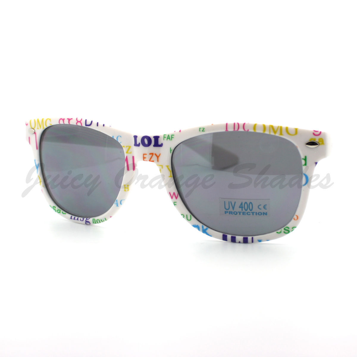 Chitchat Text Prints Sunglasses Classic Horn Rimmed Frame (Spring Hinge)