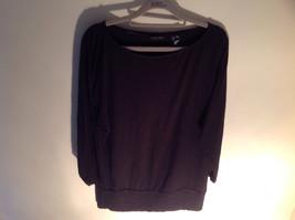 New York Company Long Sleeve Black Scooped Neckline Stretchy Size Medium image 2