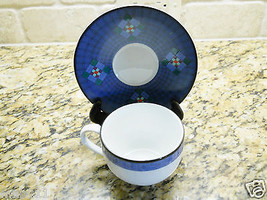 Dansk Nine Patch Quilting Blue PORTUGAL Cup and Saucer Set - $2.92