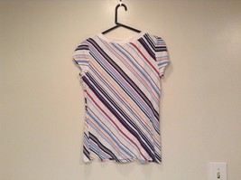 New York and Company Short Sleeve Top White with Blue Red Yellow Stripes Size M image 3
