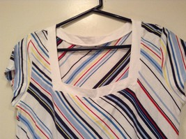 New York and Company Short Sleeve Top White with Blue Red Yellow Stripes Size M image 2