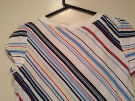 New York and Company Short Sleeve Top White with Blue Red Yellow Stripes Size M image 4