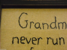New primitive embroidered framed Grandmas never run out of hugs or cookies image 8