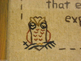 New primitive embroidered framed Exceed your Expectations with stitched owl image 2