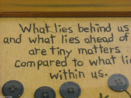 New primitive embroidered framed What Lies Within Us Behind Us Ahead of Us image 2
