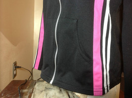 Next Concept Black  long sleeve zippered hoodie pink white strip front/sleeve image 4