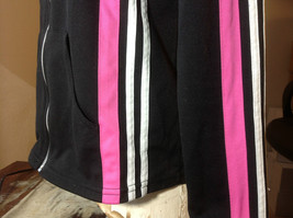 Next Concept Black  long sleeve zippered hoodie pink white strip front/sleeve image 3