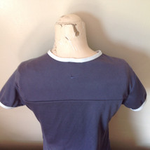 Nike Short Sleeve Athletic Wear Top Gray Blue with Off White Trim Size Small image 5