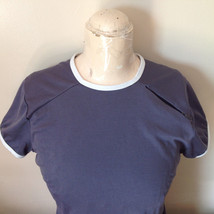 Nike Short Sleeve Athletic Wear Top Gray Blue with Off White Trim Size Small image 4