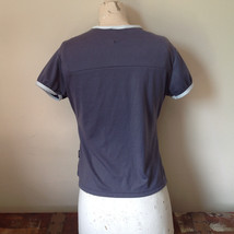 Nike Short Sleeve Athletic Wear Top Gray Blue with Off White Trim Size Small image 6