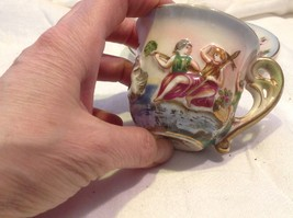 Occupied Japan hand painted tea cup and saucer  small demitasse image 4