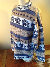 North American Sweaters Blue White Gray Design Hearts Stripes Long Sleeve image 5