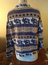 North American Sweaters Blue White Gray Design Hearts Stripes Long Sleeve image 4