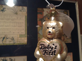 Off White Teddy Bear Babys First Hand Blown Glass Ornament German Christmas image 3