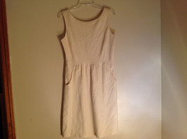 Off White Sleeveless Empire Waistline Knee Length Dress Zipper on Side NO TAG image 7