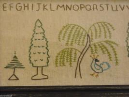 Primitive Embroidered Framed Trees w glass Alphabet Numbers sampler stitchery image 3