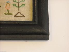 Primitive Embroidered Framed Trees w glass Alphabet Numbers sampler stitchery image 5