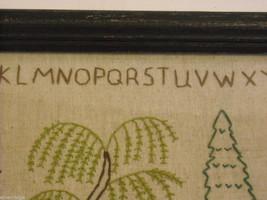 Primitive Embroidered Framed Trees w glass Alphabet Numbers sampler stitchery image 9