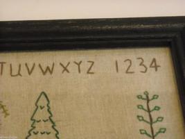 Primitive Embroidered Framed Trees w glass Alphabet Numbers sampler stitchery image 8
