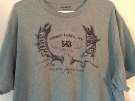 Old Navy Green T Shirt Finger Lakes NY on Front with Graphics Stretchy Size XXL image 2