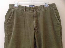 Olive Green Corduroy Ralph Lauren 4 Pocket Pants Button Zipper Closure Size 32 image 2