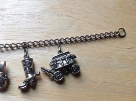 Old West Themed Charm Silver Bracelet Pressure Moving Closure Charms List Below image 4