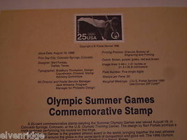 Olympic Commemorative Stamp 1988 souvenir page image 2