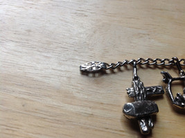 Old West Themed Charm Silver Bracelet Pressure Moving Closure Charms List Below image 5