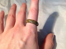 Olive Black Speckled Agate Natural Stone Ring Size 8 image 2