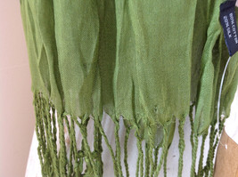 Olive Green Scrunch Style Silk Cotton Scarf with Tassels TAG ATTACHED by Look image 4