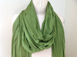 Olive Green Scrunch Style Silk Cotton Scarf with Tassels TAG ATTACHED by Look image 3