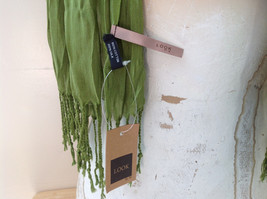 Olive Green Scrunch Style Silk Cotton Scarf with Tassels TAG ATTACHED by Look image 6
