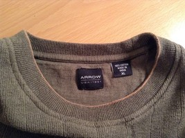 Olive Green Long Sleeve 100 Percent Cotton Sweater by Arrow Size XL image 5