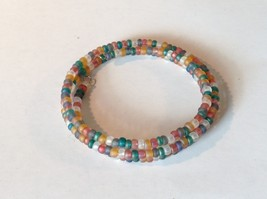Opaque Beaded Coil Bracelet Multicolored Beads Adjustable Size image 2