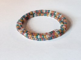 Opaque Beaded Coil Bracelet Multicolored Beads Adjustable Size image 4