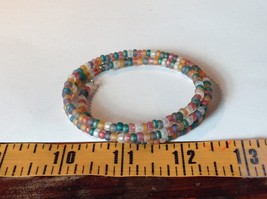 Opaque Beaded Coil Bracelet Multicolored Beads Adjustable Size image 3