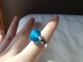 Opaque Blue Bead Silver Ring Size 4.75 by Beadit image 4