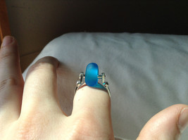 Opaque Blue Bead Silver Ring Size 4.75 by Beadit image 6