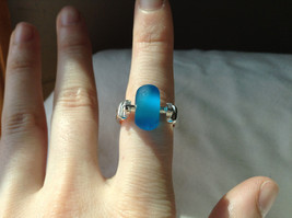 Opaque Blue Bead Silver Ring Size 4.75 by Beadit image 5