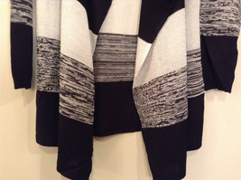 Ombre Black & White Long Sleeve Cardigan Sweater Wrap New w glitter sparkle image 5