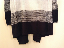 Ombre Black & White Long Sleeve Cardigan Sweater Wrap New w glitter sparkle image 8