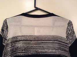 Ombre Black & White Long Sleeve Cardigan Sweater Wrap New w glitter sparkle image 6