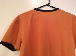 Orange Brown with Black Trim Short Sleeve T Shirt Turkey Embroidered Size Medium image 6